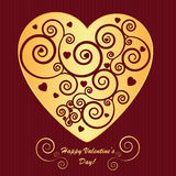 Valentine's background with golden heart Stock Photography