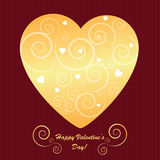 Valentine's background with golden heart Stock Photos