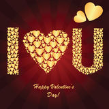 Valentine's background with golden hearts. Valentine's background with many golden hearts on the red phone with rays Royalty Free Stock Photos