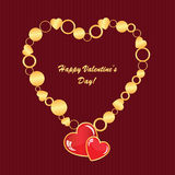Valentine's background with hearts and circles Stock Images