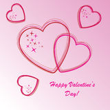 Valentine's background with hearts and stars. On pink phone Stock Image