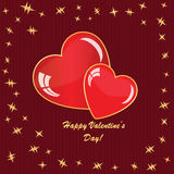 Valentine's background with hearts and stars. On red strip phone Stock Photo