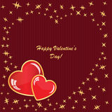 Valentine's background with hearts and stars. On red strip phone Royalty Free Stock Image