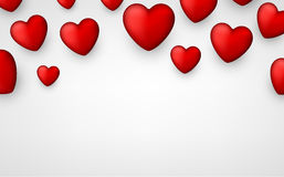 Valentine`s background with hearts. Valentine`s white background with 3d hearts. Vector paper illustration Royalty Free Stock Photos