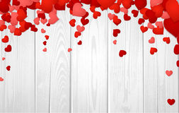 Valentine's background with hearts. Wooden valentine's background with hearts. Vector paper illustration Royalty Free Stock Photo