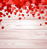 Valentine's background with hearts. Wooden valentine's background with hearts. Vector paper illustration Stock Image