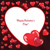 Valentine's background with many hearts. On dark phone with rays Royalty Free Illustration