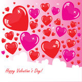 Valentine's background with many hearts. Valentine's background with four hearts on pink phone Royalty Free Stock Images