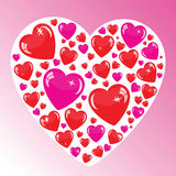 Valentine's background with many hearts. Isolated on white Stock Illustration