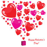 Valentine's background with many hearts. Isolated on white Stock Photo