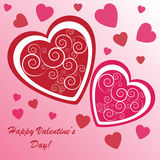 Valentine's background with many hearts. Valentine's background with hearts with ornament on pink phone Stock Photos