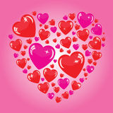 Valentine's background with many hearts. On pink phone Stock Illustration
