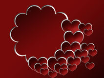Valentine's background with photo frame. Red valentine's background with photo frame and hearts vector illustration