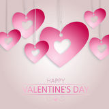 Valentine's background with pink hearts Stock Images