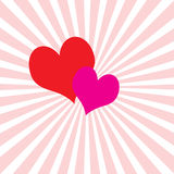 Valentine's background with rays Royalty Free Stock Photos