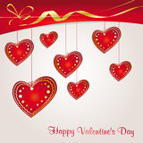 Valentine's background with red hearts Royalty Free Stock Image
