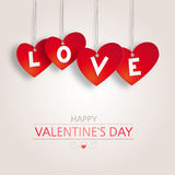 Valentine's background with red hearts Stock Photography
