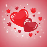 Valentine's background with red hearts. Abstract Valentine's background with Red hearts and stars Stock Image