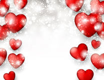 Valentine's background with red hearts. Stock Photos