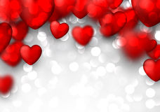 Valentine's background with red hearts. Stock Images