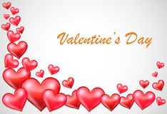 Valentine's background with red hearts Stock Images