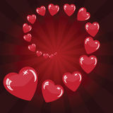 Valentine's background with red hearts. Valentine's background with many hearts on red phone with rays Royalty Free Stock Image