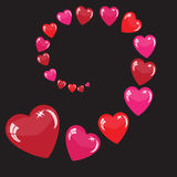 Valentine's background with red hearts Stock Photos