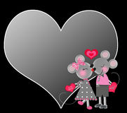 Valentine's Background - Two Gray Mice in Love Royalty Free Stock Image