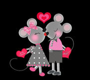 Valentine's Background - Two Gray Mice with Valentines Stock Photos