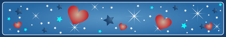 Valentine's banner. A valentine banner on a blue background and many stars and hearts.EPS file available Royalty Free Stock Photography