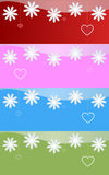 Valentine's banners. A set of four valentine's banners with flowers and hanging hearts. EPS file available Stock Images