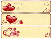 Valentine's banners with hearts. Royalty Free Stock Images
