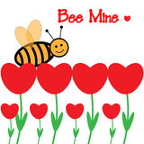 Valentine's Bee flower card Royalty Free Stock Images