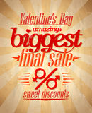 Valentine`s biggest sale typographic design. Royalty Free Stock Image