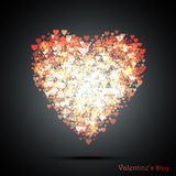 Valentine`s bokeh hearts. Many of transparent hearts in the shape of big heart. Design card scrapbook.  illustration Royalty Free Stock Images