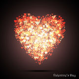 Valentine`s bokeh hearts. Many of transparent hearts in the shape of big heart. Design card scrapbook. Vector Stock Image
