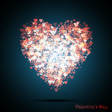Valentine`s bokeh hearts. Many of transparent hearts in the shape of big heart illustration. Royalty Free Stock Image