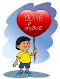 Valentine's boy. A boy holding big Valentines heart Royalty Free Stock Photos