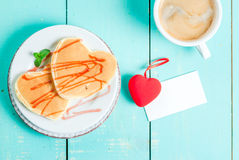 Valentine`s breakfast with pancakes Royalty Free Stock Image