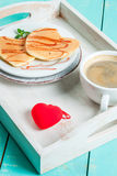 Valentine`s breakfast with pancakes Royalty Free Stock Photo