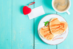 Valentine`s breakfast with pancakes Stock Photos