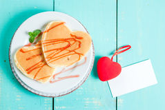 Valentine`s breakfast with pancakes Royalty Free Stock Photos