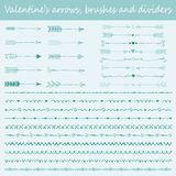 Valentine`s brushes, arrows and text dividers Royalty Free Stock Photo