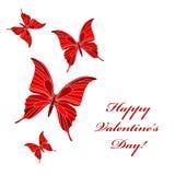 Valentine's butterflies. Romantic postcard with butterflies, Valentine's day Royalty Free Stock Photography