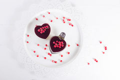 Valentine's cake in heart shape on white background royalty free stock image