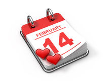 Valentine's calendar. 14 february (3d render Stock Photo
