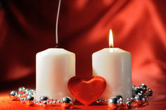 Valentine's candles Stock Images