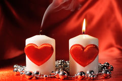 Valentine's candles Royalty Free Stock Images