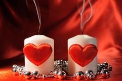 Valentine's candles Stock Photography