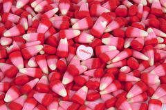 Valentine's Candy. Corn with a candy heart stock images